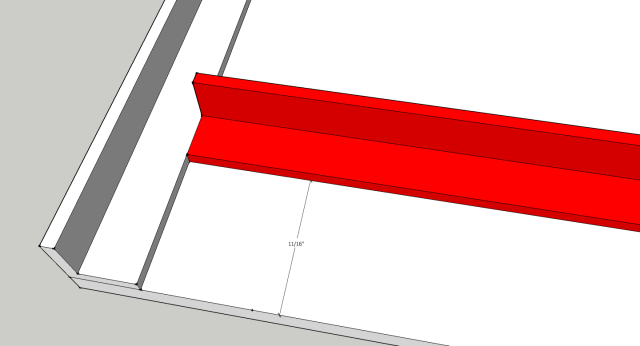 "Place the angle facing the edge and 11/16"" from the egde."